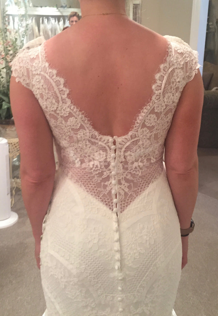 Madison James '256' size 8 used wedding dress back view close up on bride