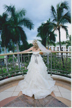 Load image into Gallery viewer, Jim Hjelm Semi Sweetheart Ruffled Ball Gown with Platinum Sash - Jim Hjelm - Nearly Newlywed Bridal Boutique - 4