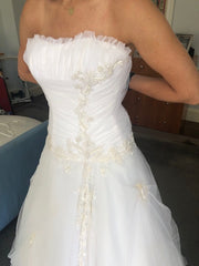Ines Di Santo 'Embroidered Tulle' size 2 used wedding dress front view on bride