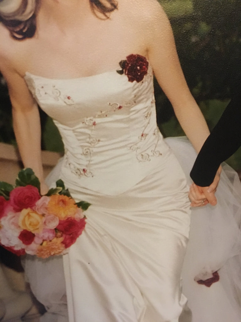 Rebecca Richards 'Vintage' size 8 used wedding dress front view on bride