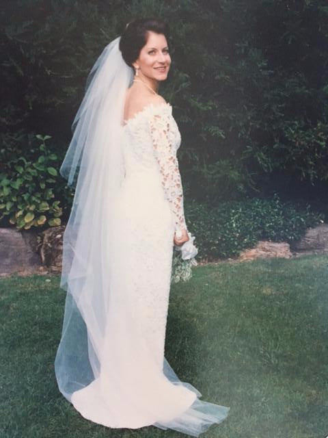 Helen Morley 'White Lace' size 6 used wedding dress back view on bride