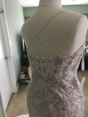 Melissa Sweet 'Embroidered and Beaded' size 14 new wedding dress back view on mannequin