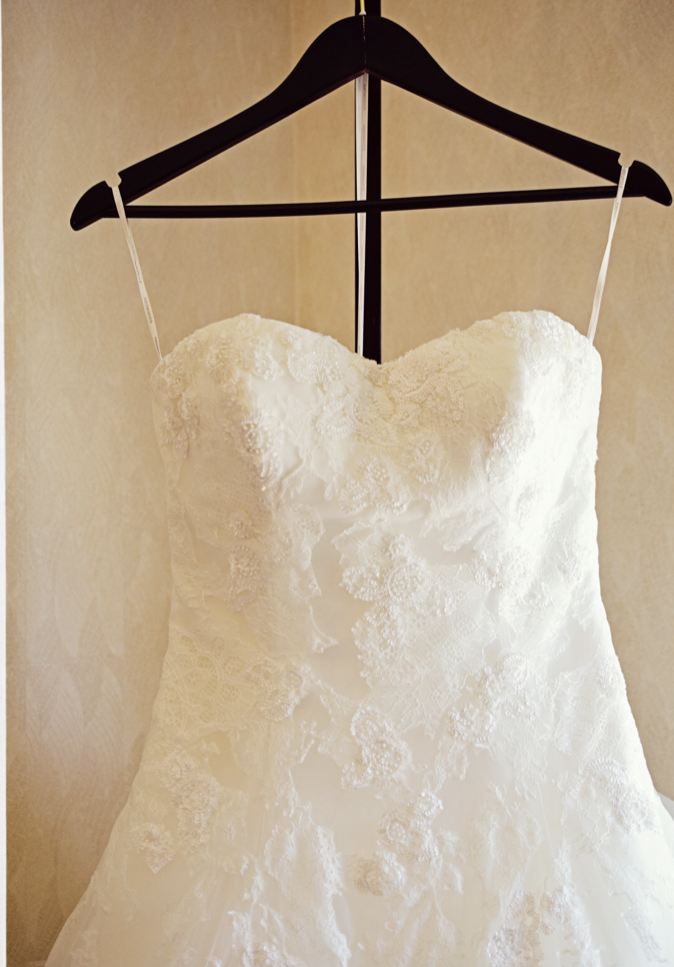 Pronovias 'Barroco' size 8 used wedding dress front view on hanger