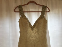 Allure 'C261' size 8 sample wedding dress front view close up on hanger
