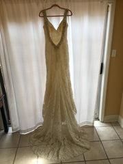 Allure 'C261' size 8 sample wedding dress back view on hanger