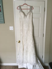 Allure 'C261' size 8 sample wedding dress front view on hanger