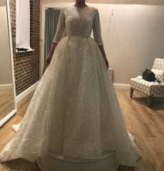 Lazaro 'Cinderella' size 4 used wedding dress front view on bride