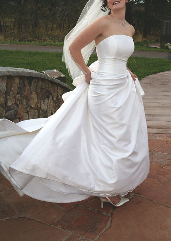 Romona Keveza Silk Strapless A-line Wedding Dress - Romona Keveza - Nearly Newlywed Bridal Boutique - 1