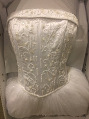 David's Bridal 'Tulle' size 8 used wedding dress front view in box