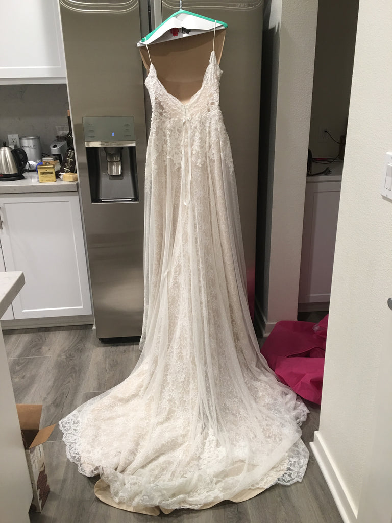 Ti Adora by Allison Webb ' 7652' size 12 used wedding dress back view on hanger