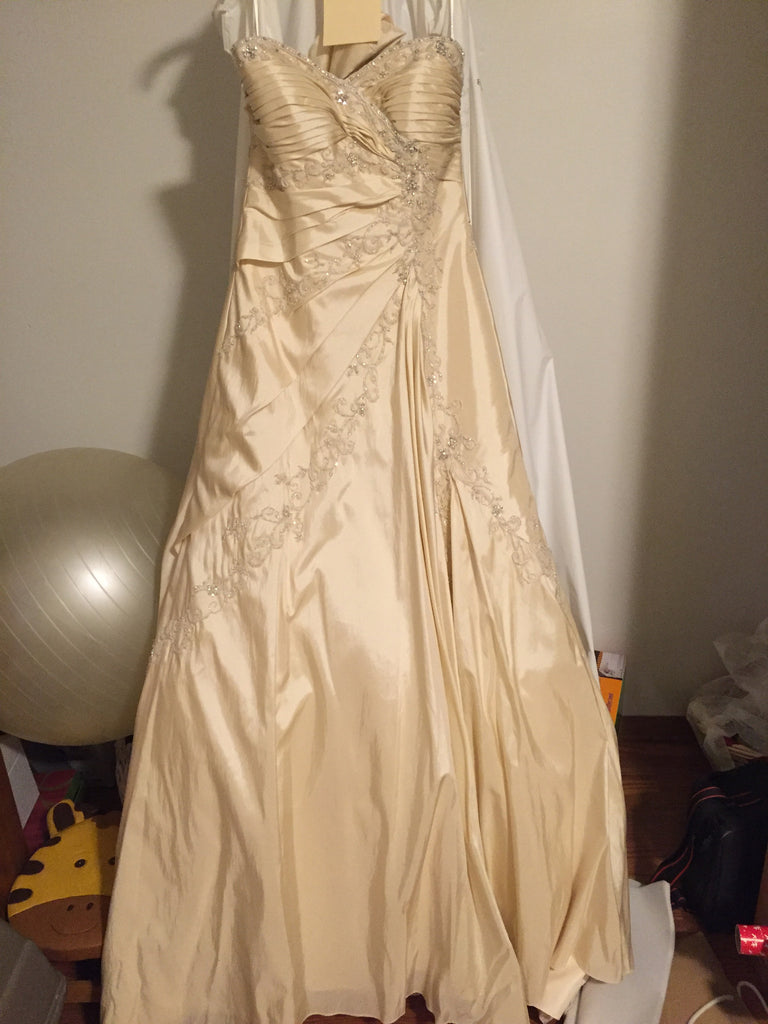 Sophia Tolli 'Olivia' size 8 used wedding dress front view on hanger