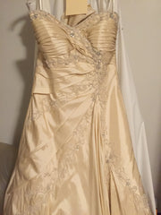 Sophia Tolli 'Olivia' size 8 used wedding dress front view close up on hanger