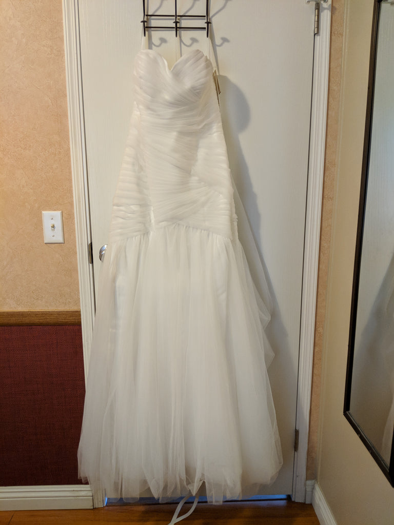 David's Bridal 'Strapless Sweetheart' size 12 new wedding dress front view on hanger