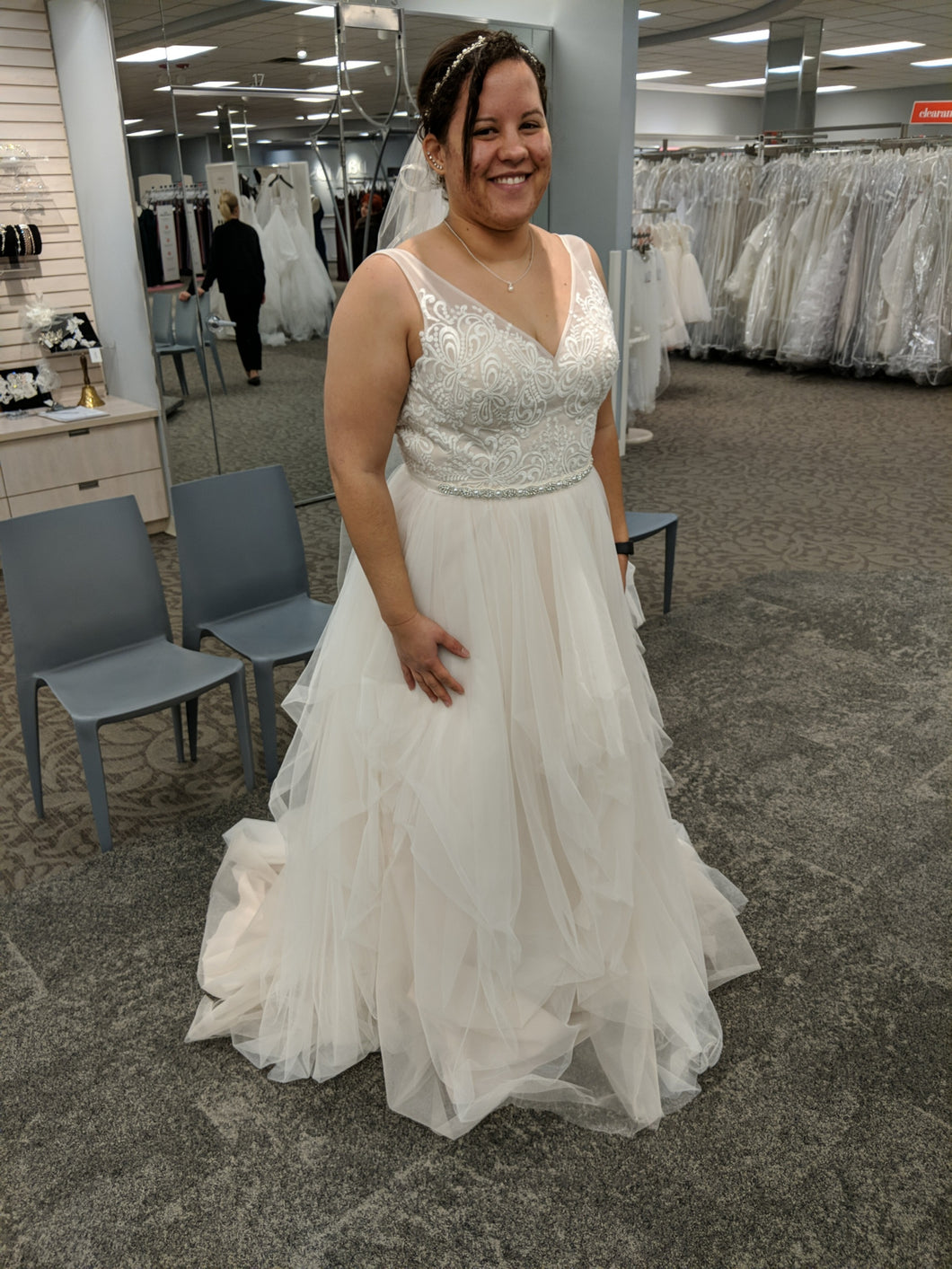 Galina 'Tulle Tank V-Neck' size 10 new wedding dress front view on bride