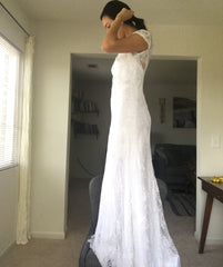 Alfred Angelo '8501' size 4 new wedding dress side view on bride