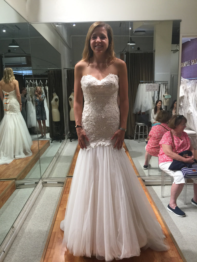 Martina Liana 'Mermaid' size 8 sample wedding dress front view on bride