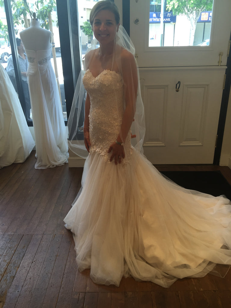 Martina Liana 'Mermaid' size 8 sample wedding dress side view on bride