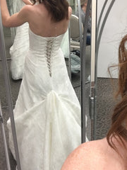 David's Bridal '10012471' size 2 used wedding dress back view on bride