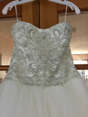 Casablanca 'Sea Breeze' size 6 new wedding dress close up on hanger