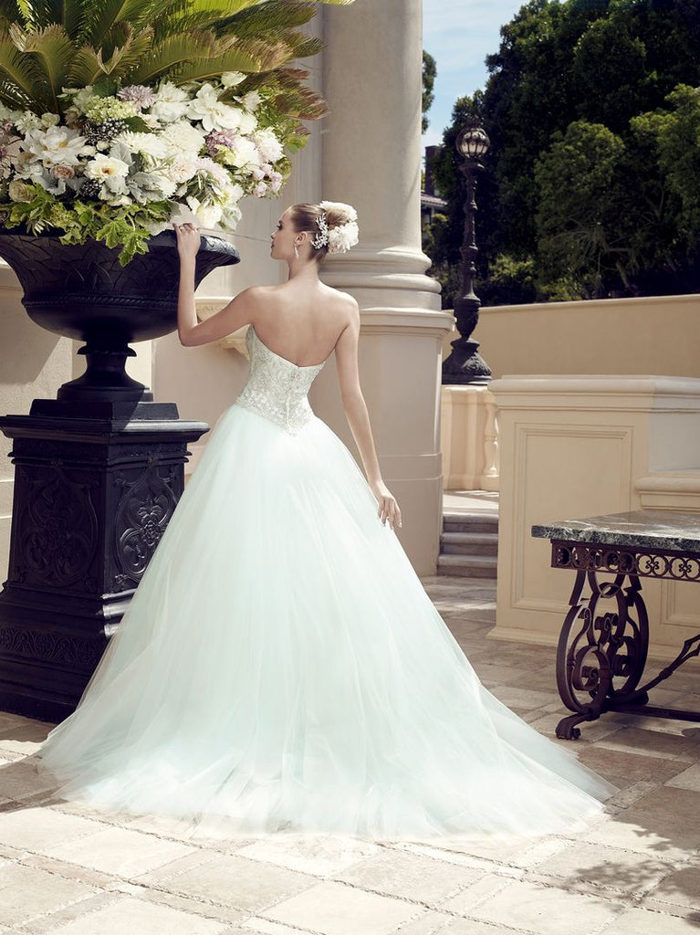 Casablanca 'Sea Breeze' size 6 new wedding dress back view on model