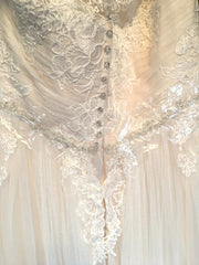 Maggie Sottero 'Patience Lynette' size 12 new wedding dress back view close up on hanger