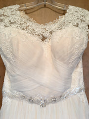 Maggie Sottero 'Patience Lynette' size 12 new wedding dress front view close up on hanger