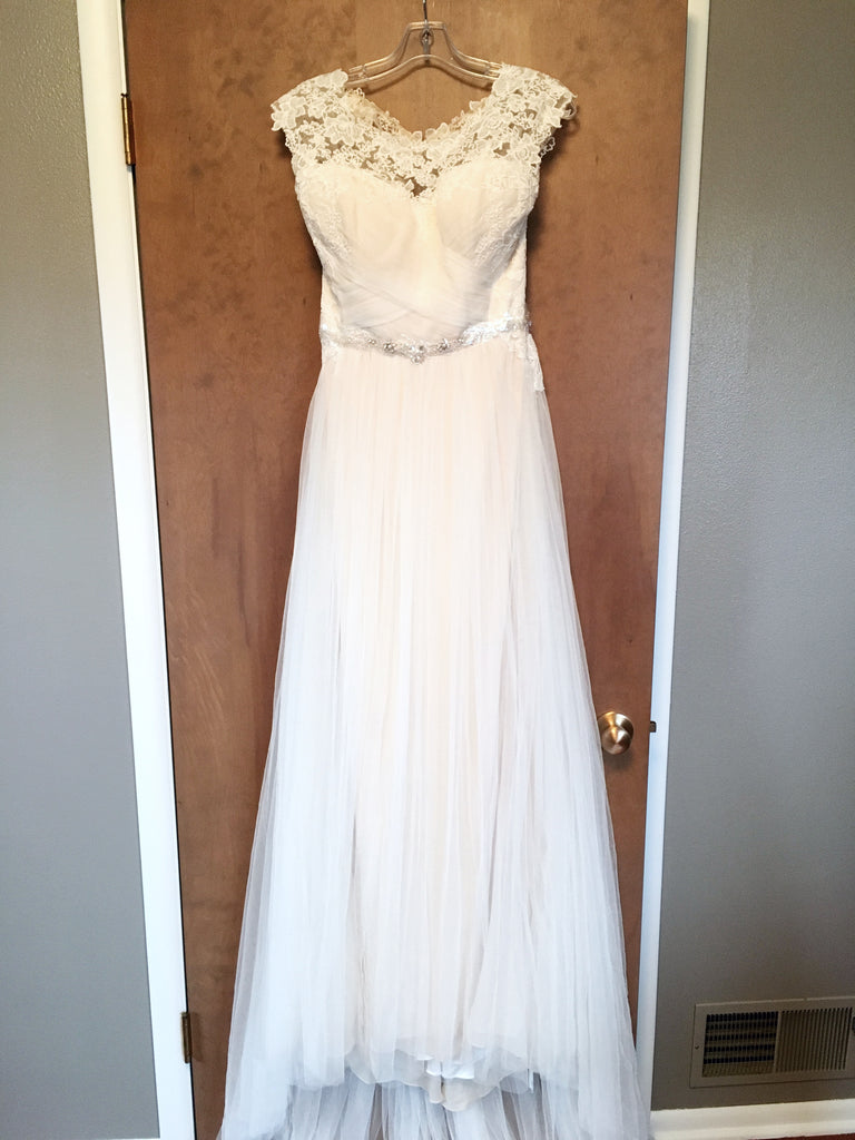 Maggie Sottero 'Patience Lynette' size 12 new wedding dress front view on hanger