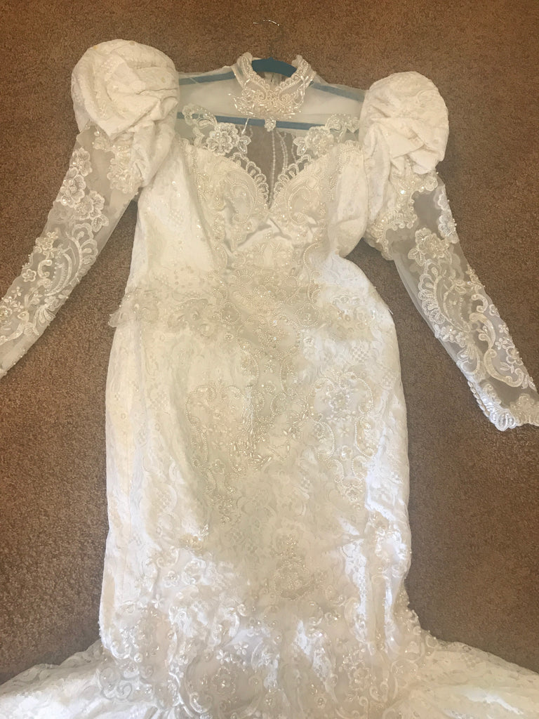 Custom 'Beaded' size 12 used wedding dress front view