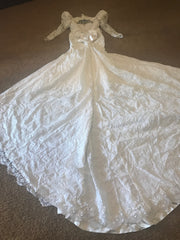 Custom 'Beaded' size 12 used wedding dress back view