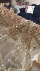 Justin Alexander '8726' size 10 used wedding dress close up of sparkles