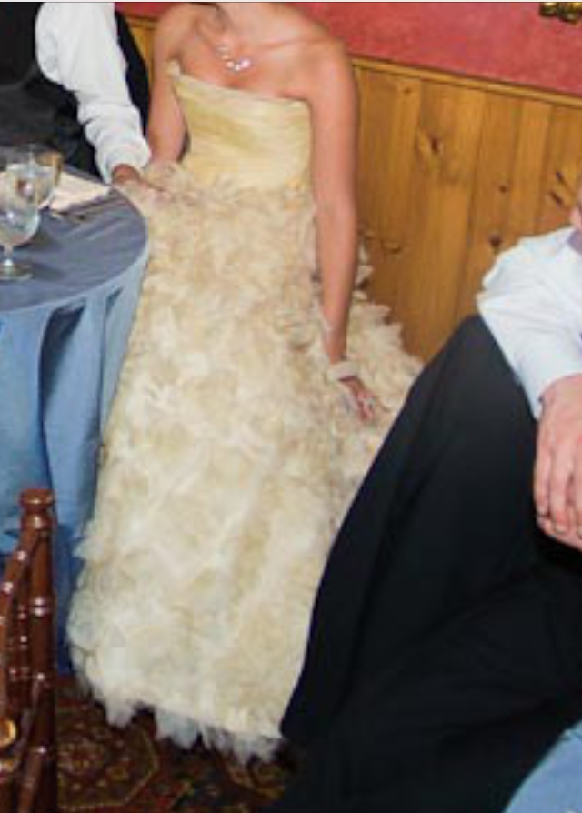 Romona Keveza 'RK138' size 6 used wedding dress front view on bride