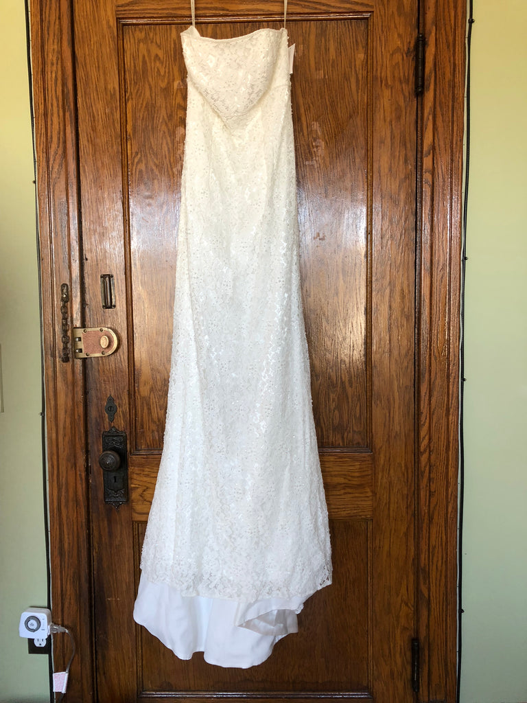 Galina 'Bohemian' size 10 new wedding dress back view on hanger