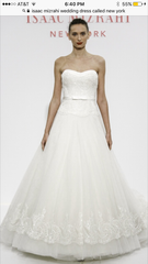 Custom 'New York by Isaac Mizarahi' size 4 used wedding dress front view on model