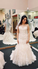 Mori Lee 'Lace' size 8 new wedding dress front view on bride
