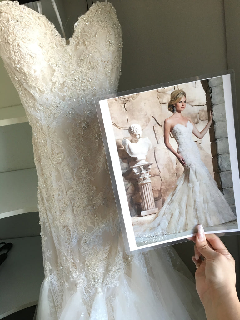 Mori Lee 'Lace' size 8 new wedding dress front view on hanger