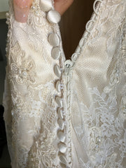 Mori Lee 'Lace' size 8 new wedding dress back view of buttons
