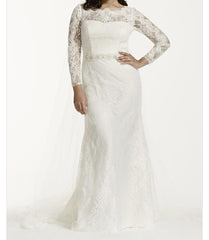Galina 'Lace' size 24 new wedding dress front view on model