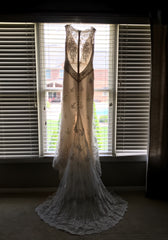 Romona Keveza 'L6139' size 2 new wedding dress back view on hanger