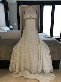 Pnina Tornai '4114' size 6 used wedding dress front view on hanger