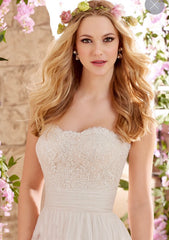 Mori Lee '6801' size 20 new wedding dress front view close up on model
