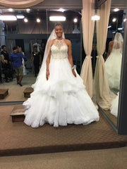 Mori Lee '8202' size 8 new wedding dress front view on bride