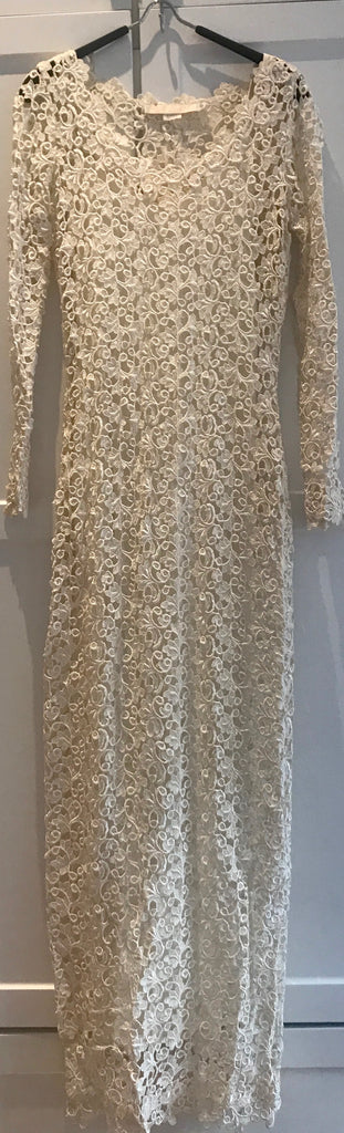 Severin 'Lace' size 4 used wedding dress front view on hanger