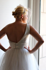Amsale 'Parker' One-Shoulder Wedding Dress - Amsale - Nearly Newlywed Bridal Boutique - 4