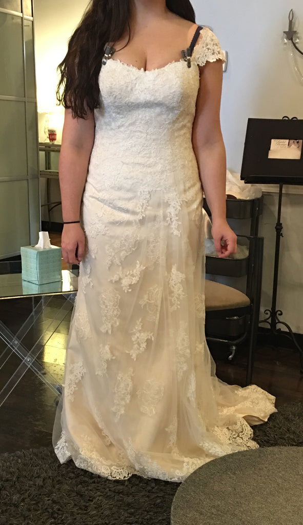 Maggie Sottero 'Joelle' size 8 sample wedding dress front view on bride