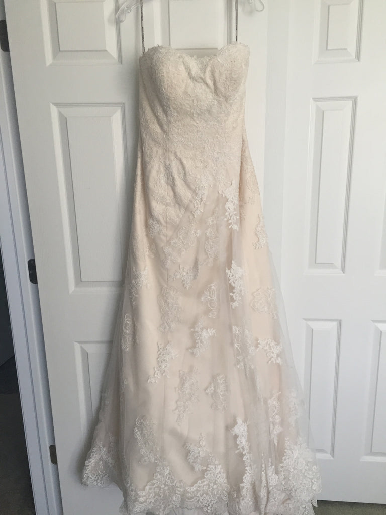 Maggie Sottero 'Joelle' size 8 sample wedding dress front view on hanger