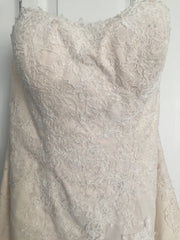 Maggie Sottero 'Joelle' size 8 sample wedding dress front view close up on hanger