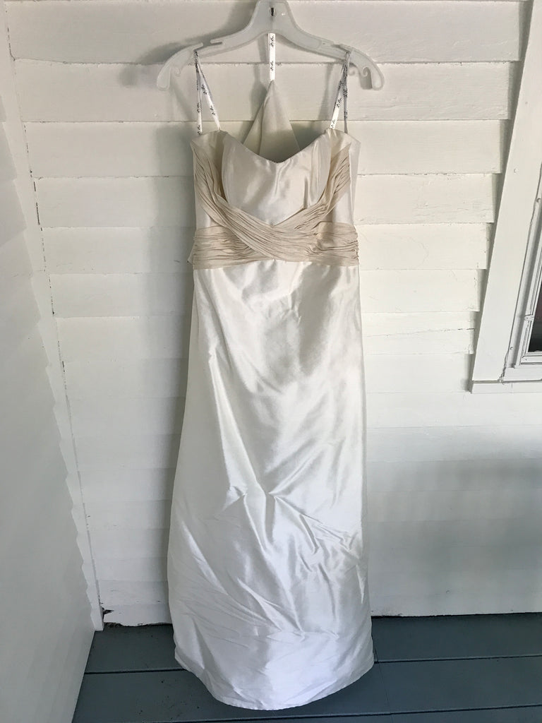 2 Be Bride 'Ivory' size 8 sample wedding dress front view on hanger