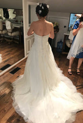 Anjolique Bridal '46319' size 6 used wedding dress back view on bride