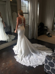 Martina Liana '873' size 2 used wedding dress back view on bride