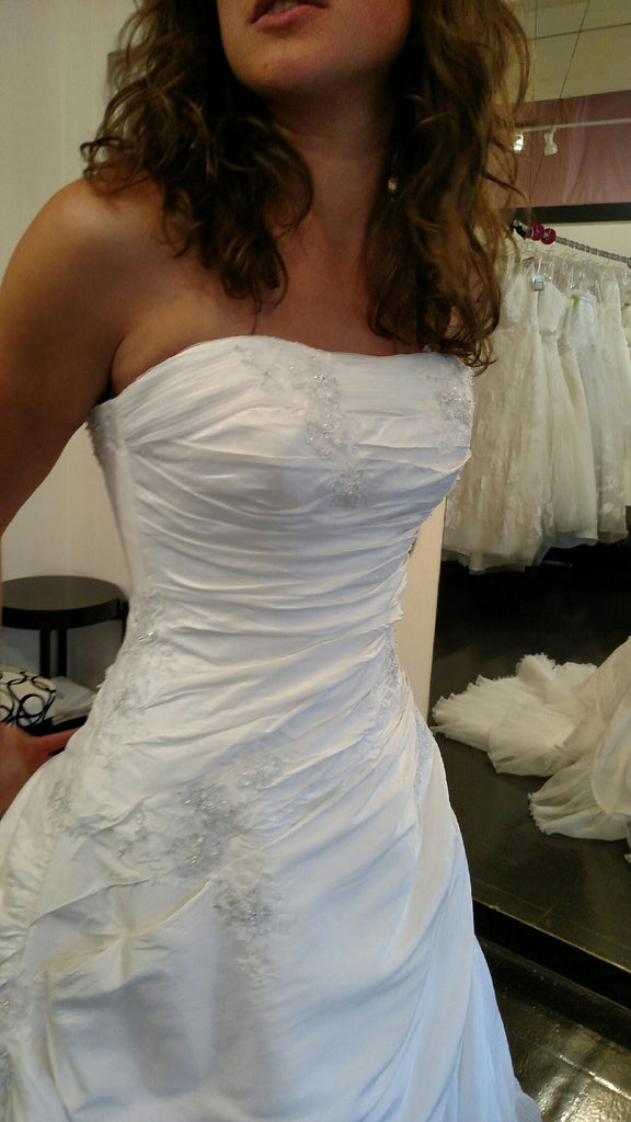 Sottero and Midgley 'A Line' size 6 used wedding dress front view on bride